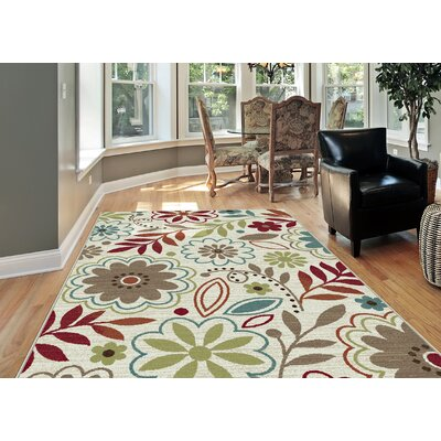 Brightling Ivory Floral Area Rug Rug Size: Rectangle 53 x 73