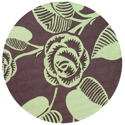 Noelle Hand-Hooked Green/Brown Indoor/Outdoor Area Rug Rug Size: Round 8