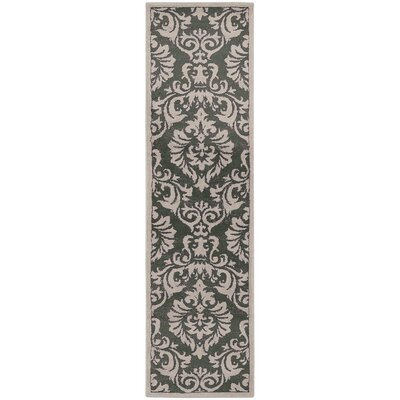 Acropolis Charcoal/Ivory Area Rug Rug Size: Runner 110 x 73