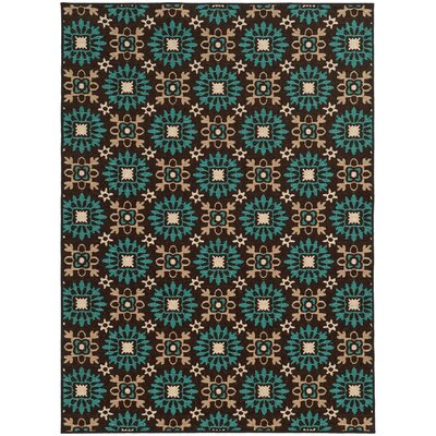Roger Brown/Blue Area Rug Rug Size: 53 x 73