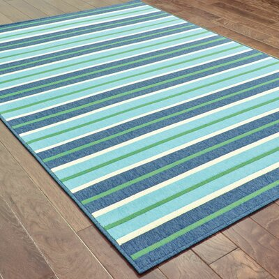 Cortlandt Blue/Green Indoor/Outdoor Area Rug Rug Size: 67 x 96