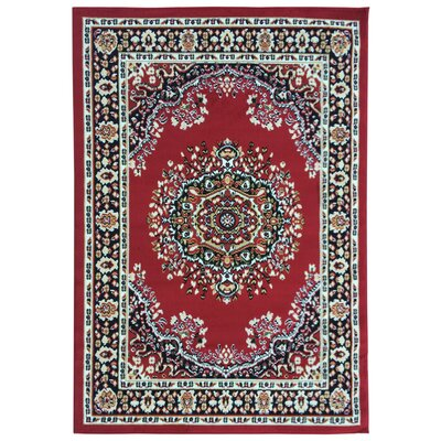 Eldred Dark Red Area Rug Rug Size: 5 x 7