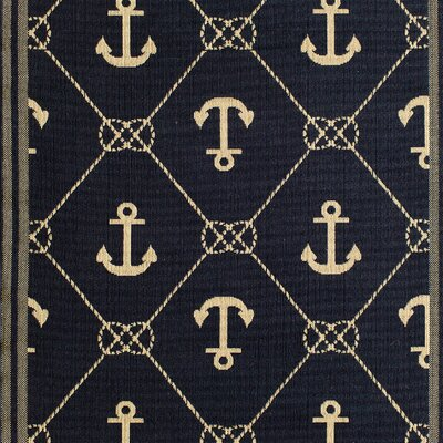 Lindsay Navy Indoor/Outdoor Area Rug Rug Size: 67 x 96