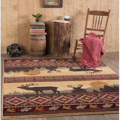 Victor Red/Brown Area Rug Rug Size: 710 x 103