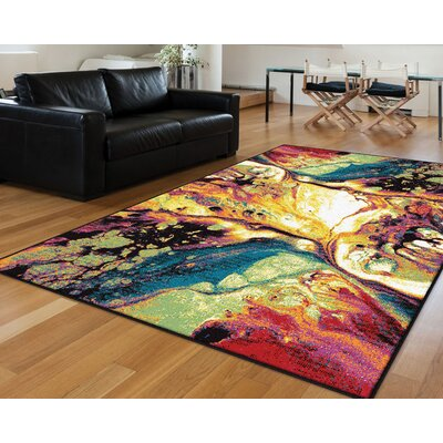 Weisman Yellow/Blue Area Rug Rug Size: Rectangle 311 x 53