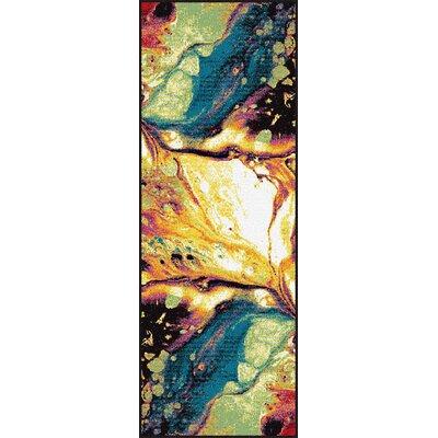 Weisman Yellow/Blue Area Rug Rug Size: Runner 710 x 10 3