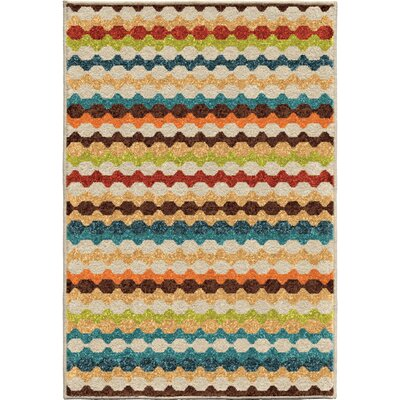 Calhoun Green/Beige Indoor/Outdoor Area Rug Rug Size: 26 x 39