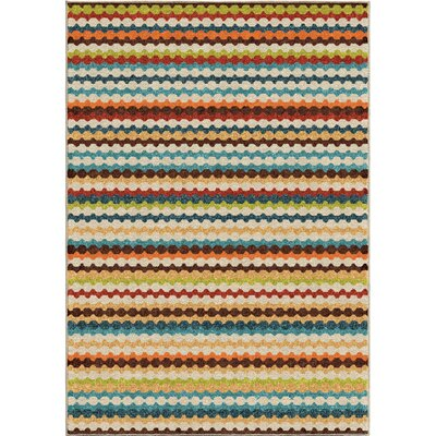 Calhoun Green/Beige Indoor/Outdoor Area Rug Rug Size: 52 x 76