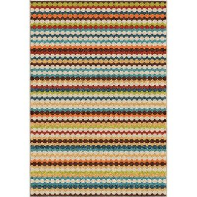 Calhoun Green/Beige Indoor/Outdoor Area Rug Rug Size: 52 x 76