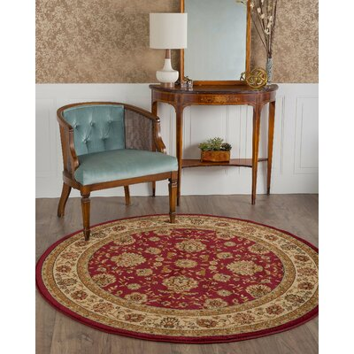 Bernice Red Area Rug Rug Size: Round 53