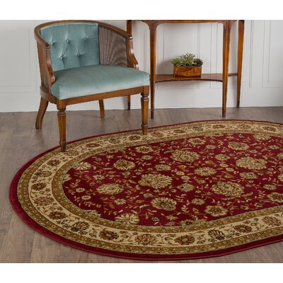 Bernice Red Area Rug Rug Size: Oval 67 x 96