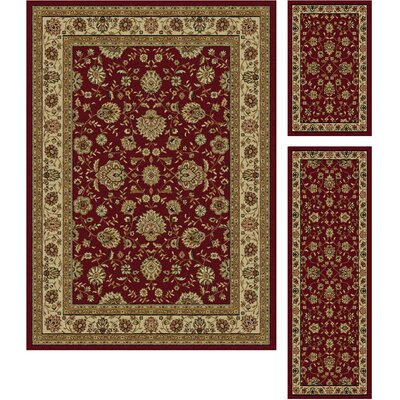 Bernice Red Area Rug Rug Size: 3 Piece Set
