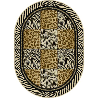 Crawford Brown/Black Area Rug Rug Size: Oval 53 x 73