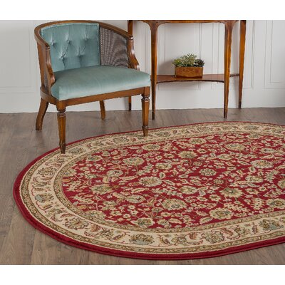 Larios Red Area Rug Rug Size: Oval 5'3