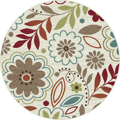Brightling Ivory Floral Area Rug Rug Size: Round 53