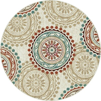 Dripping Springs Ivory Area Rug Rug Size: Round 53
