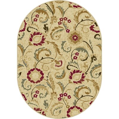 Gulledge Ivory Area Rug Rug Size: Oval 53 x 73