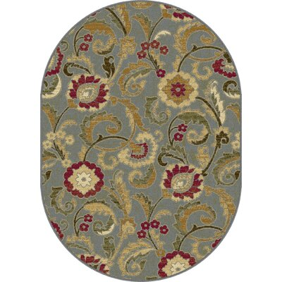Gulledge Blue Area Rug Rug Size: Oval 53 x 73