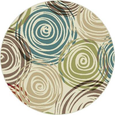 Sherlene Beige/Green Area Rug Rug Size: Round 8