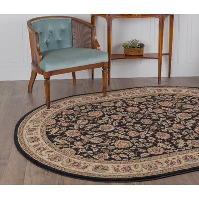 Larios Black/Beige Area Rug Rug Size: Oval 53 x 73
