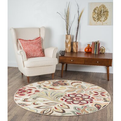 Brightling Ivory Area Rug Rug Size: Round 710