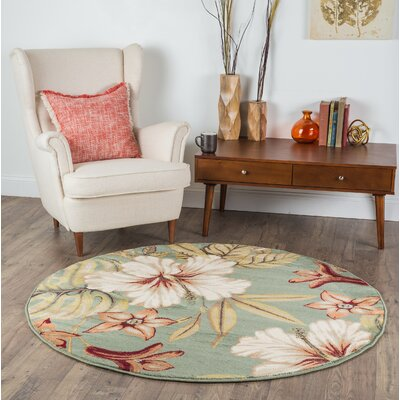 Murphy Teal Area Rug Rug Size: Round 53