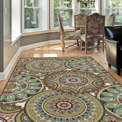 Sherlene 3 Piece Brown/Green Area Rug Set