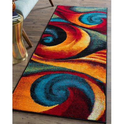Weisman Red/Blue Area Rug Rug Size: Runner 3 x 8