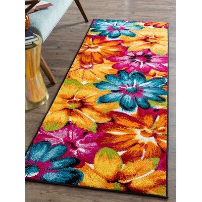 Weisman Yellow/Blue Area Rug Rug Size: Runner 3 x 8