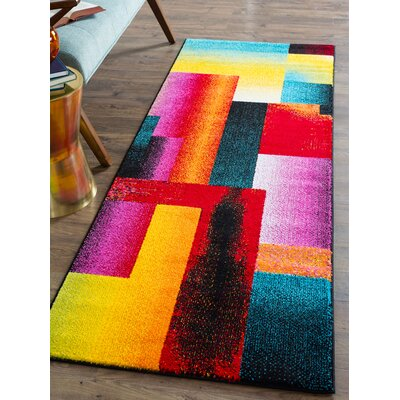 Weisman Red/Yellow Area Rug Rug Size: Runner 3 x 8