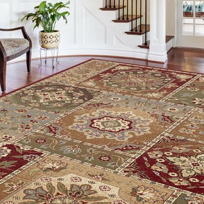 Barbarra Beige/Red Area Rug Rug Size: Rectangle 7 x 10