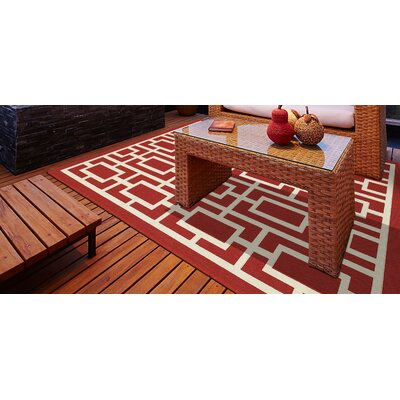 Cortlandt Red/Ivory Indoor/Outdoor Area Rug Rug Size: 110 x 210