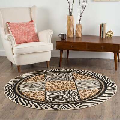 Colesville Brown/Black Area Rug Rug Size: Round 53