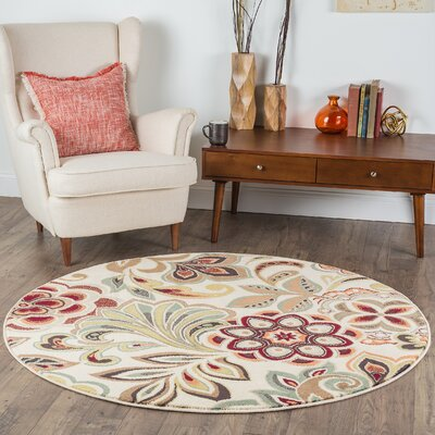 Brightling Ivory Area Rug Rug Size: Round 6