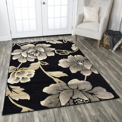 Culver Floral Geometric Black Area Rug Rug Size: Rectangle 53 x 77