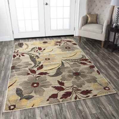 Culver Ivory Floral Area Rug Rug Size: 53 x 77