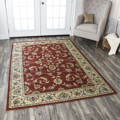 Culver Red Floral Indoor/Outdoor Area Rug Rug Size: 53 x 77