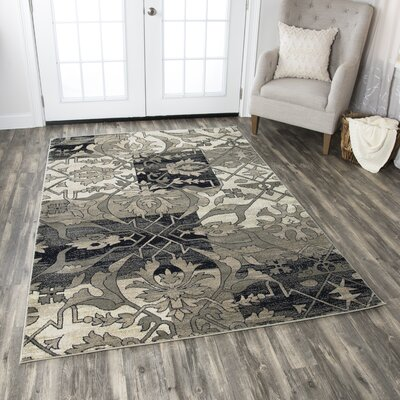 Culver Floral Gray/Black Area Rug Rug Size: Rectangle 67 x 96