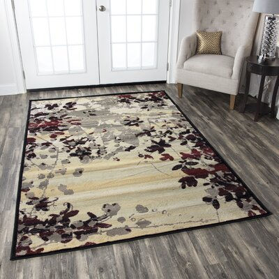 Culver Beige Floral Area Rug Rug Size: Rectangle 53 x 77