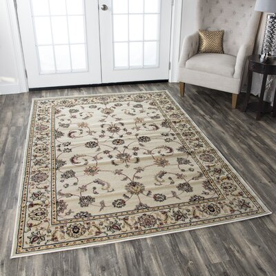 Culver Ivory Floral Area Rug Rug Size: Rectangle 93 x 126