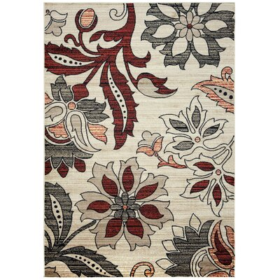 Culver Floral/Geometric Ivory Area Rug Rug Size: Rectangle 53 x 77