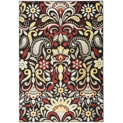 Culver Floral Brown Area Rug Rug Size: Rectangle 53 x 77