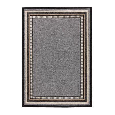 Somers Hand-Hooked Gray/Taupe Indoor/Outdoor Area Rug Rug Size: 53 x 76