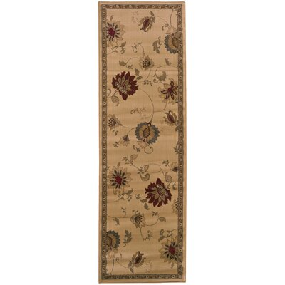 Abell Ivory/Green Area Rug Rug Size: Rectangle 26 x 45