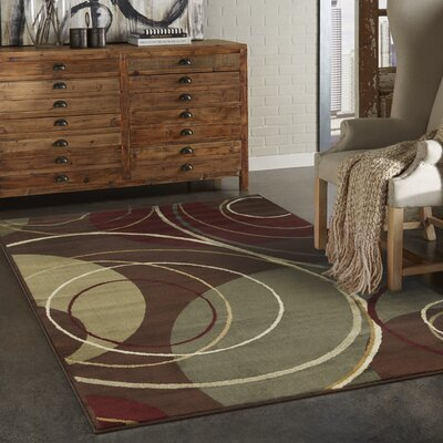 Garmon Brown/Red Area Rug Rug Size: 32 x 57