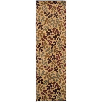 Garmon Ivory/Green Area Rug Rug Size: Runner 26 x 79