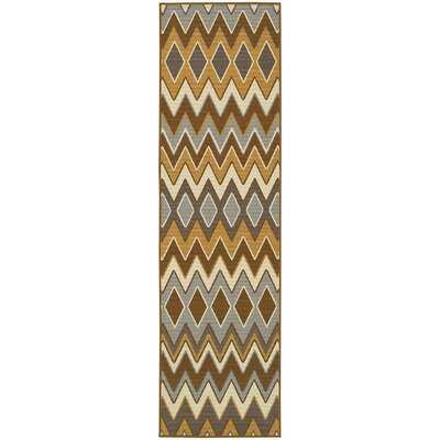 Milltown Grey/Gold Indoor/Outdoor Area Rug Rug Size: Runner 23 x 76