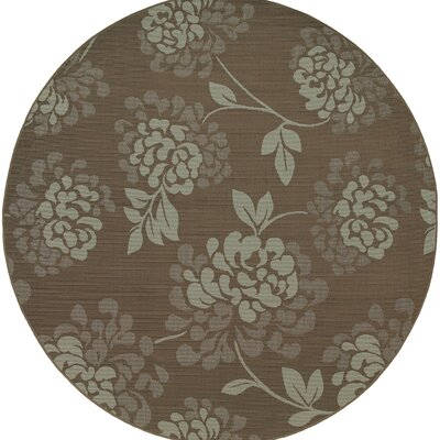 Milltown Gray/Blue Indoor/Outdoor Area Rug Rug Size: Round 710