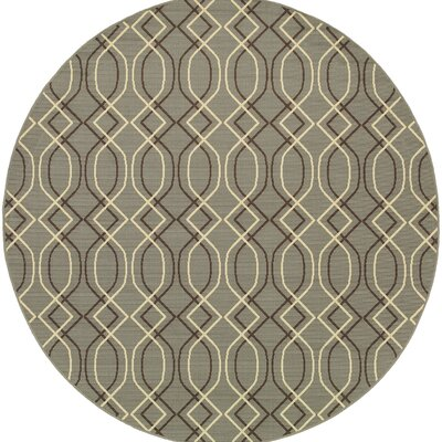 Milltown Blue/Grey Indoor/Outdoor Area Rug Rug Size: Round 710