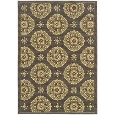 Milltown Grey/Gold Indoor/Outdoor Area Rug Rug Size: 19 x 39